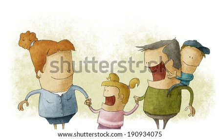 Couple giving two young children smiling - stock photo