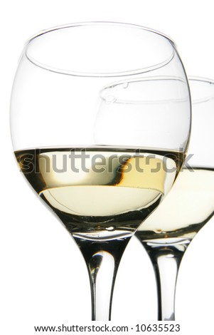 Couple glasses with white wine isolated over white background - stock photo