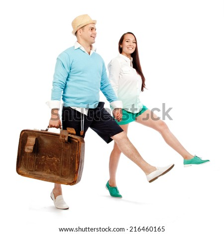 Couple go and smile, isolated - stock photo