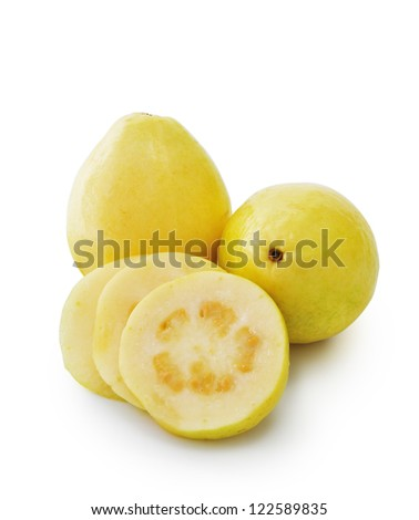 Couple Guava Fruits And Slices Isolated on White Background - stock photo