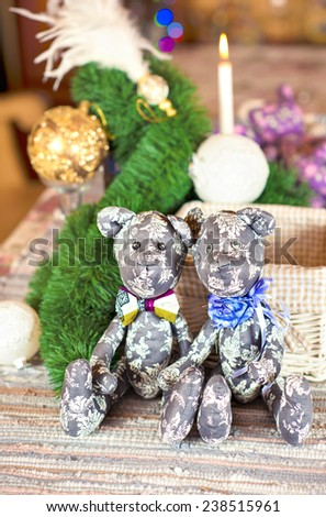 Couple handmade provence gray tilda bear toys on christmas background. Celebration gift. Indoors still-life. - stock photo
