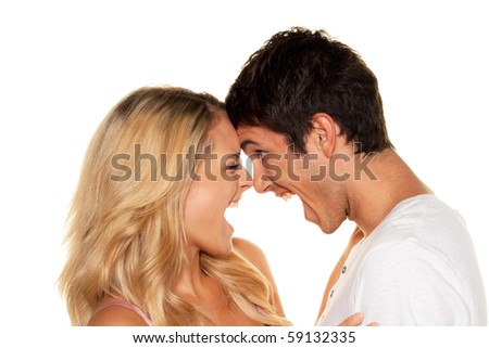 Couple has fun and joy. Love, eroticism and tenderness in everyday life. - stock photo