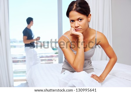 couple have argument at home. upset frustrated and unhappy relationship - stock photo