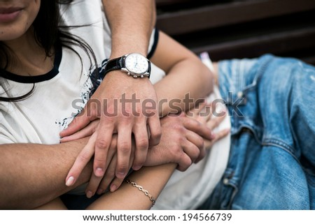 Couple have fun in the city - stock photo