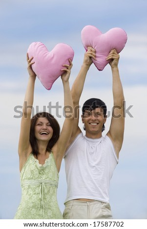 couple have happiness with pink heart - stock photo