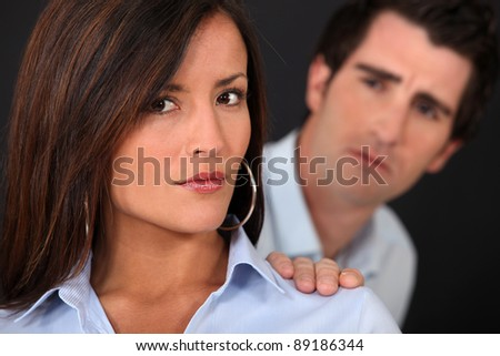 couple having a quarrel - stock photo