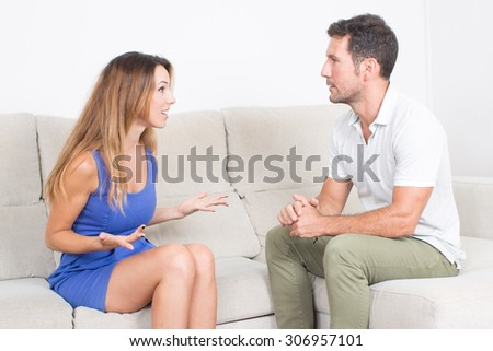 Couple having an argument - stock photo