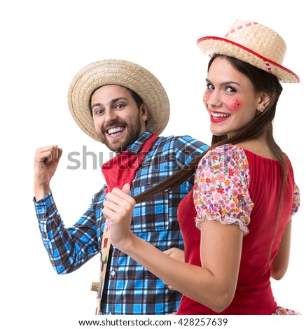 Couple having fun on Brazilian Junina Party - stock photo