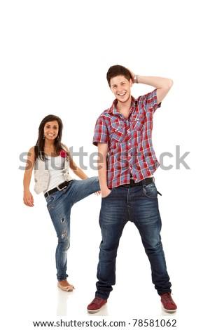 couple having fun - woman kicking her boyfriend - stock photo