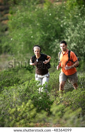 Couple hiking in the countryside