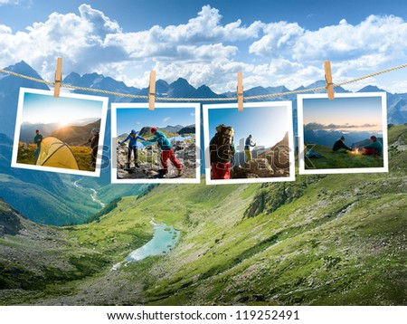 couple hiking in the mountain - stock photo