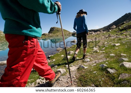 couple hiking in the mountain