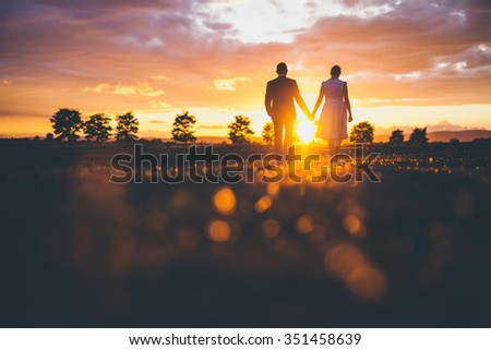 Couple holding hands in the sunset - stock photo