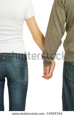 Couple holding hands. Isolated on a white background.