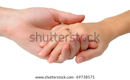 Couple holding hands isolated on white background - stock photo