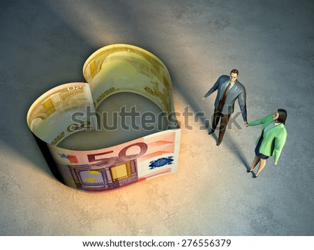 Couple holding hands, next to an heart symbol created by two money bills. Digital illustration. - stock photo