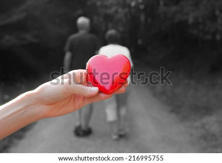 Couple holding hands walking away. Love concept - stock photo