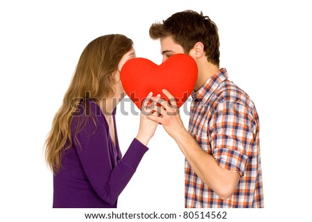 Couple holding red heart - stock photo