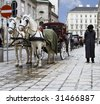 couple horses cab lane on Vienna square with cabman - stock photo
