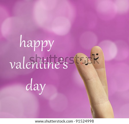 Couple hug of happy fingers smileys with love. Valentine's day theme. On background of abstract bokeh - stock photo
