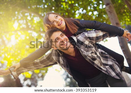 Couple hugging in the park, selective focus - stock photo
