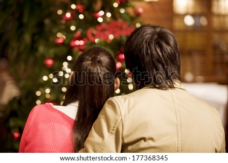 Couple in Christmas - stock photo