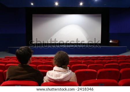 couple in cinema - stock photo