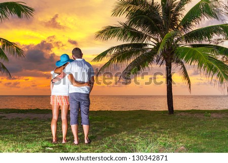 Couple in hug watching together sunset under palm tree - stock photo