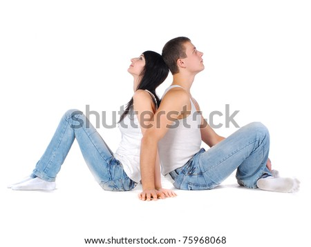couple in jeans and white t-shirts - stock photo