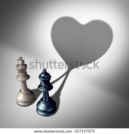 Couple in love as a valentine's day concept as a white king and black queen chess piece casting a united cast shadow coming together in a romantic relationship as an attraction symbol. - stock photo