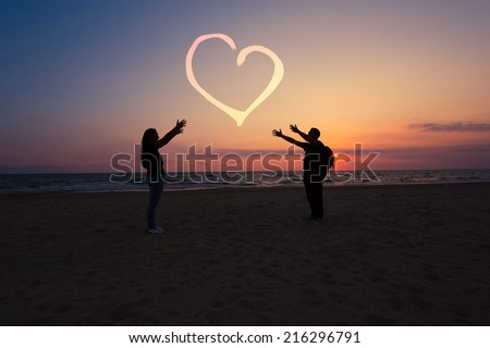 couple in love at sunset time