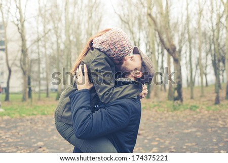 couple in love at the park winter