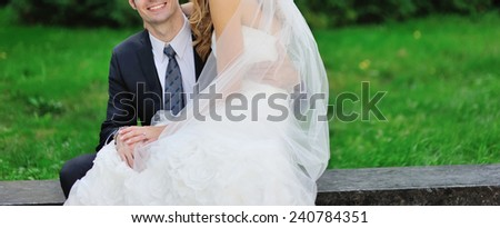 couple in love. bride and groom sitting together - stock photo