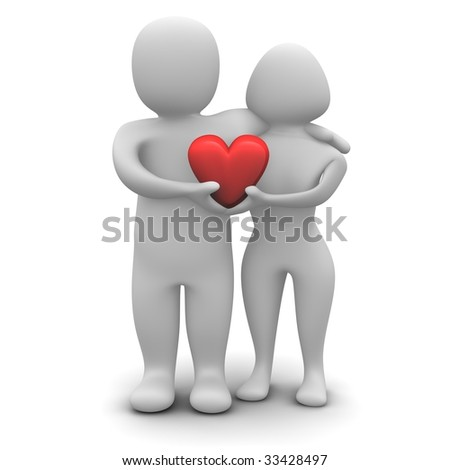 Couple in love. 3d rendered illustration isolated on white. - stock photo