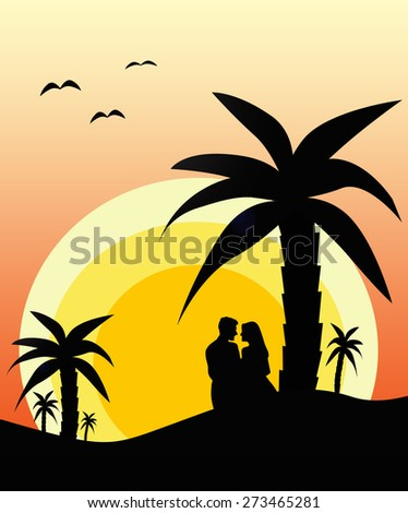 Couple in love during sunset - stock photo