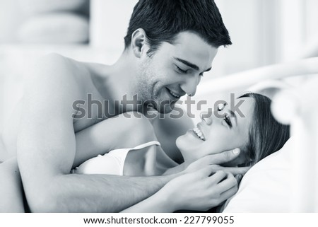 Couple in love in bed