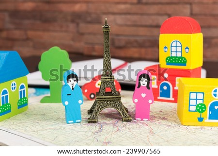 Couple in love in Paris - stock photo
