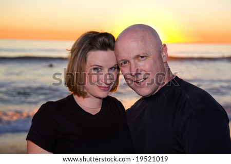 Couple in Love in San Clemente during Sunset - stock photo