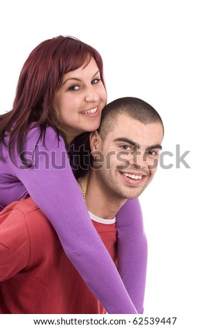 Couple in love, isolatet in white - stock photo