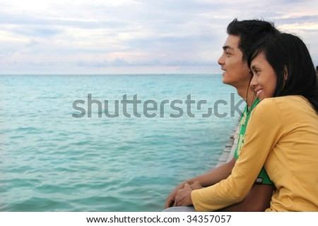 couple in love look to the bright future - stock photo