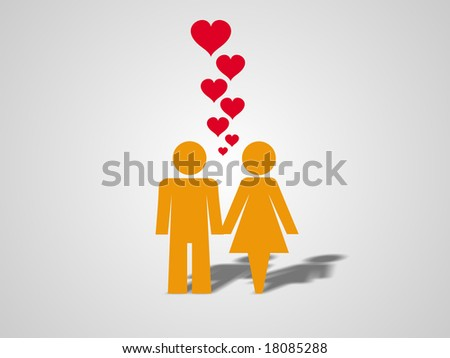 Couple in love. Man and woman hand in hand with lots of hearts floating in the air. - stock photo