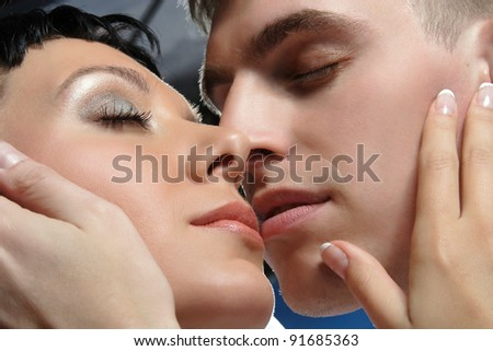 couple in love on studio shooting - stock photo