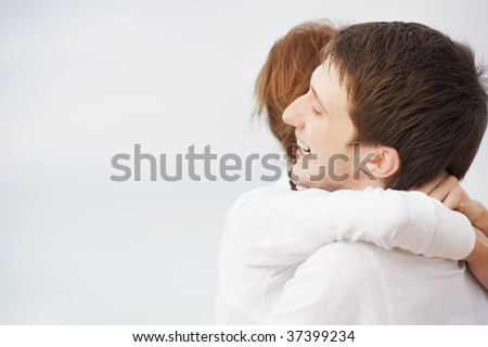 Couple in love outdoors - stock photo