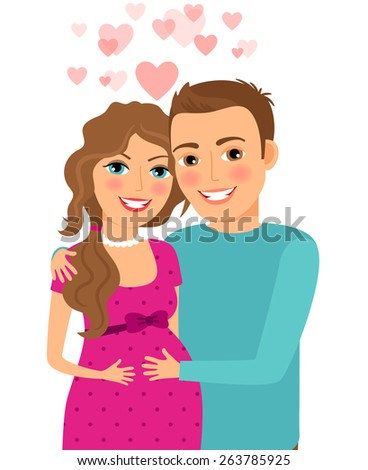 Couple in love. Pregnant woman with her husband. Married and smile, relationship and romantic - stock photo