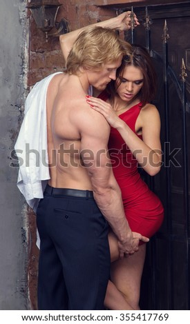 Couple in love. Sexy couple. Beautiful lover couple having sex in quiet place. Couple having sex. Man passionate kissing woman. Cover for the book. based on fifty shades of gray.  - stock photo