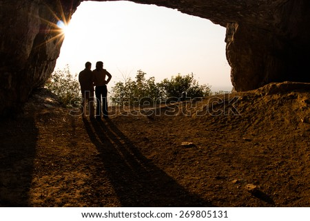 Couple in love silhouette during sunset - stock photo