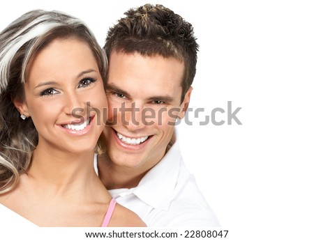 Couple  in love smiling. Over white background - stock photo