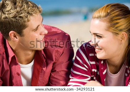 couple in love staring into each others eyes - stock photo