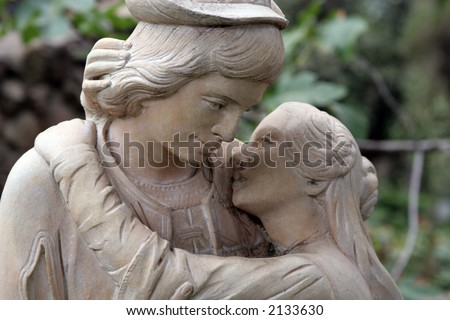 Couple in love statue - stock photo