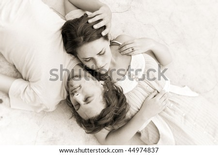 Couple in love take an afternoon nap together - stock photo